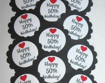 50th Birthday Cupcake Toppers/Party Picks Item #1706
