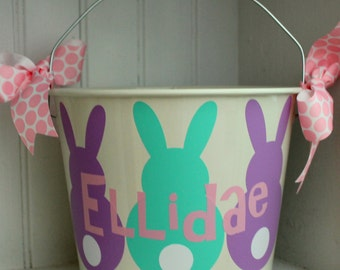 Easter Basket - Easter Pail - Meatal Easter Pail - Personalized Easter Bucket - Monogrammed Bucket - Kids Easter Basket - Easter Basket