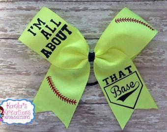 I'm All About that Base Hair Bow,Softball Hair Bows,Softball Cheer Bows,T-Ball Hair Bows,T-Ball Bows, Softball,I'm all about that Base Bows.