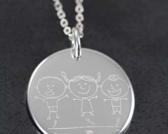 Engraved Custom Handwriting Drawing Jewelry , Christmas Gift , Signature Pendant , Kids Drawing Pendant Necklace , 925 Sterling Silver