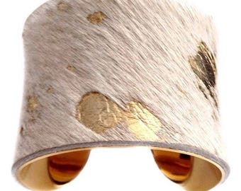 Cowhide Fur Cuff Bracelet with Gold Foil - by UNEARTHED