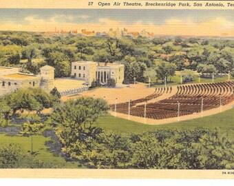 Vintage Linen Postcard...Texas, San Antonio, Open Air Theatre, Breckenridge Park..Unused...TX0006