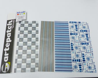 4 sheets of decorative paper DECOPATCH glue for all 4 sheets of 40 x 50 cm Lighthouse sailboat stripe sea anchor