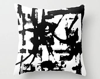 Black And White, Pillow Cover, Throw Pillow Cover, Cushion Cover, Art Pillow, Accent Pillow, Modern Art Pillow, Sofa Pillow, Couch Pillow