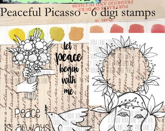 Peaceful Picasso - 6 digi stamp bundle in png and jpg files for instant download
