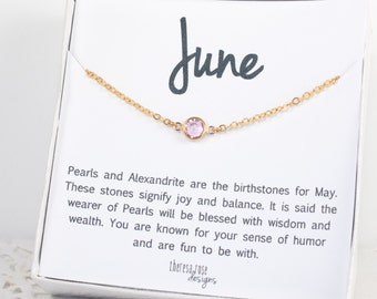 Collier Pierre de naissance Swarovski, juin Birthstone collier en or, collier en or de Swarovski, Light améthyste collier en or, bijoux de naissance