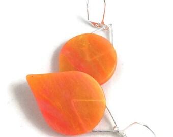Tangerine dream teardrop dangle earrings translucent polymer