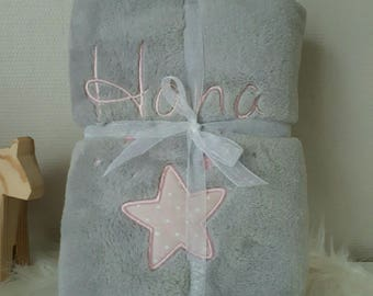 fleece blanket baby embroidered name and stars