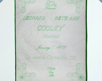 Custom Wedding Quilt - Green Thread