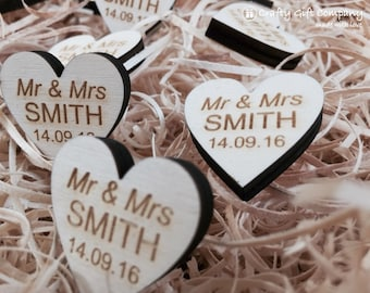 Personalised Love Heart Mr & Mrs Wedding Favours Table Decorations