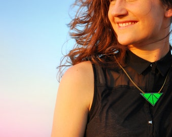 Green Statement Necklace with sparkling holographic effect geometrical triangle necklace green necklace with brass