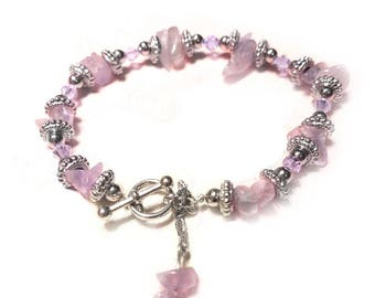 Amethist gemstone and crystal boho stacking chakra bracelet.