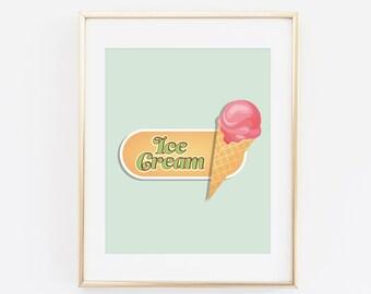 Ice cream Sign, Ice Cream Corn, Summer Print, Ice cream Print, Printable Wall art, Summer Nursery Art print, Mint Wall art Summer Poster