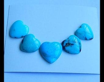 5 PCS Natural Heart Turquoise Gemstone Cabochons,16.9g (Cb166)