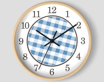 Blue Gingham Wall Clock - Pattern in Blue and White with Wood Frame - 10-inch Round Clock - Made to Order