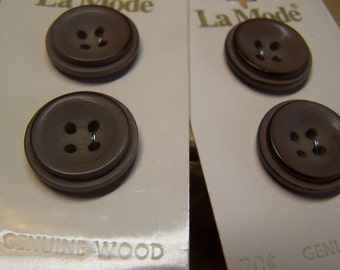 """Vintage 7/8"""" Wood Buttons, Set of 4 (no. 1449)"""