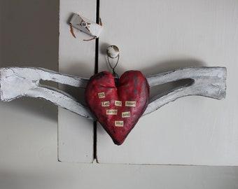 Mixed Media Heart & Wings*I'll Let My Heart Dance And Sing*Tiffany Grace Walls Art*