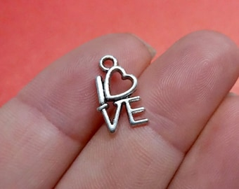 50 Bulk,  Love Heart Charms 15X8mm Item:A18