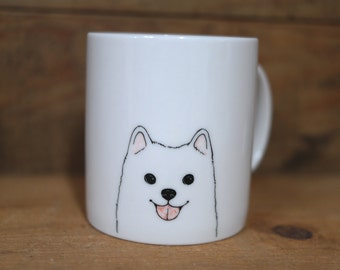 Hand painted animal mug cup - Cute mug cup - Pomeranian dog mug cup