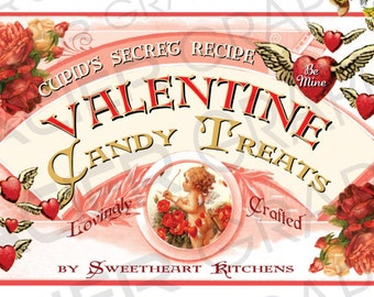 Vintage Victorian Valentine Candy Label Digital Download Collage Sheet Gift Tag Scrapbook Printable Gaslight Valentine Label Valentine Candy