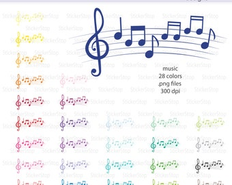 Music Icon Digital Clipart in Rainbow Colors - Instant download PNG files