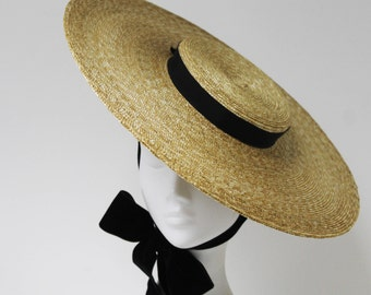 The Montpellier Vogue - Bergere Hat w/ Double Sided Velvet Ribbon - Formal Hat