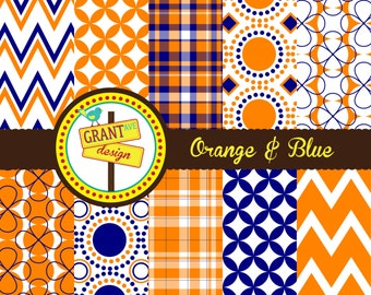 Orange & Blue Digital Papers - Backgrounds for Invitations, Card Design, Scrapbooking, and Web Design