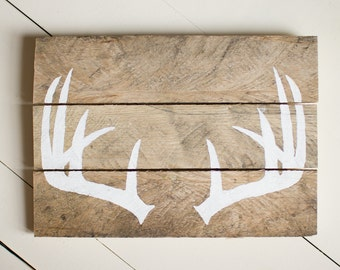 Antler Wood Sign, Pallet Sign, Reclaimed Wood