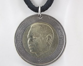 Morocco Coin Necklace, 5 Dirhams, Coin Pendant, Mens Necklace, Womens Necklace, Leather Cord, Birth Year, 2002