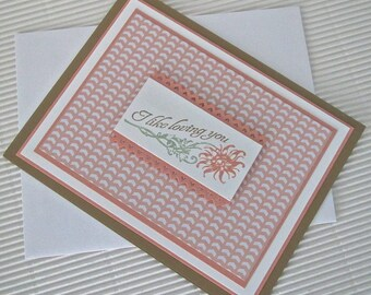 I like loving you card handmade stamped love anniversary Valentine peach brown green stationery greeting home living