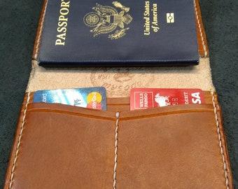 Hand stitched Hermann Oak Veg Tan Leather Passport wallet, Travel wallet, passport cover holder case travel gear, gift for traveler, bespoke