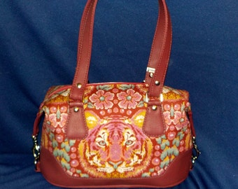 "Handmade Large Shouder Bag, Swoon Patterns, ""Brooklyn"", Crouching Tiger Fabric"