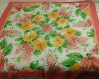 Vintage, designer, Oscar de la renta, likely silk scarf with pink lily's and yellow morning glory looking flowers.