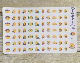 Spring Chicks Planner Stickers Set a1