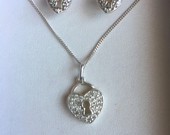 Padlock necklace with matching earrings