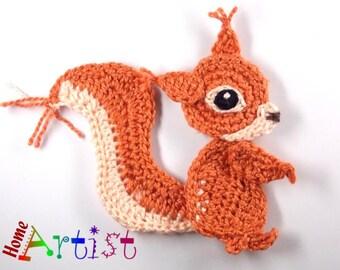 Crochet Squirrel Applique