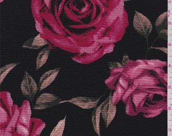 Black/Red Floral Hammered Crepe, Fabric By The Yard