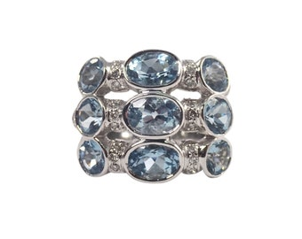 18k White Gold Aquamarine and Diamond Band, Vintage Jewelry, Estate Jewelry, March Birthstone, Wide Band