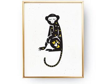 Monkey Print, Kids Print, Baby Print Poster, Nursery Art, Nursery Print, Happy Art, Wall Decor, Kids Room Decor, Kids Room Art, Baby Art