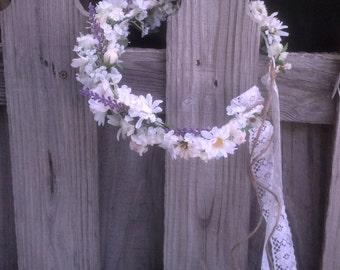 Lavender Lace Flower Crown Bridal Wedding Accessories violet hair wreath Headpiece halo Ivory White Woodland Fairy headdress