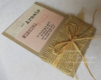 BURLAP wedding invitation. Lace invitations. OUTDOOR wedding invites burlap lace. Boho Wedding Invitation. Shabby Chic wedding Rustic garden