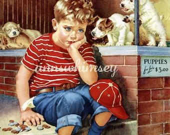 Boy's Room Decor, Dog Puppies Little Boy Restored Antique Art Print, Pet Store   Print #190  FREE SHIPPING