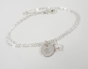 Sterling Silver Initial Bracelet - Hand Stamped Jewelry - Mommy Jewelry - Birthstone Jewelry - Personalized Bracelet