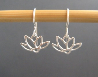 tiny sterling silver earrings. lotus flower  lever back leverback dangle petals floral botanical nature drop simple zen jewelry gift for her