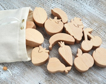Wooden Play Food Wooden Vegetables Wooden toy Wood gifts toddler wood Toy food Farmers market Play carrot tomato Pretend Fake food