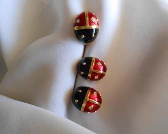 MFA Ladybug pin and earrings