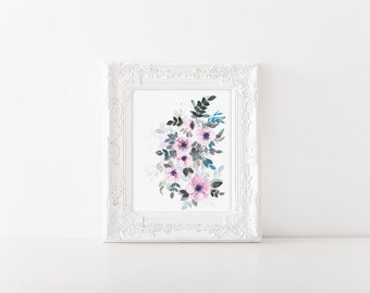 Watercolor anemones > watercolor florals > anemones art print > anemone flower painting > anemone painting > winter flowers > wall decor