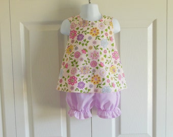 Cross-Back Pinafore Top and Bloomers Set baby or toddler - 3 mos to size 5  - Lavender Lilac pink floral gingham