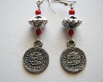 Silver earrings dangle | coin | bohemian | boho chic | style | women | final sale