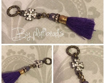 MOM SALE New CHARM dangle drop wire wrapped Royal purple french cotton tassel rhinestone encrusted mini cross connector